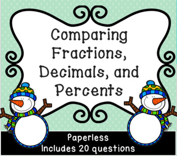 Comparing Fractions, Decimals, and Percents for  Google Classroom Winter Themed