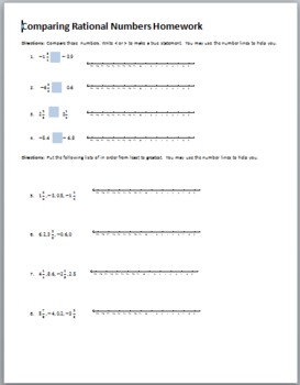 Comparing Rational Numbers Homework
