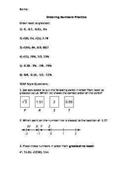 Comparing Real Numbers Task 2