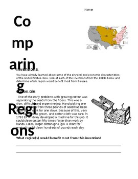 Comparing Regions in the US in the 1800s Packet