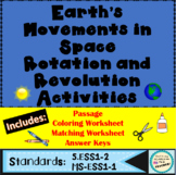 Comparing Rotation and Revolution Printable Matching Worksheet Activity