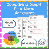 Comparing Simple Fractions Worksheet - 4th Grade Fractions (4.NF.2)