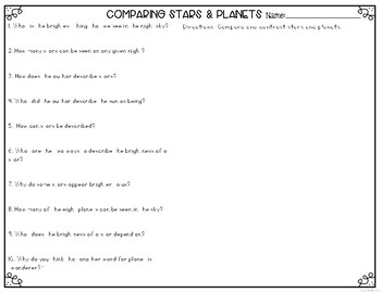 Stars & Planets: Comparing the two Differentiated Reading Passages & Questions