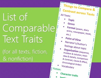 Comparing Multiple Texts (Bookmark Comparison List with Key Vocabulary Defined)