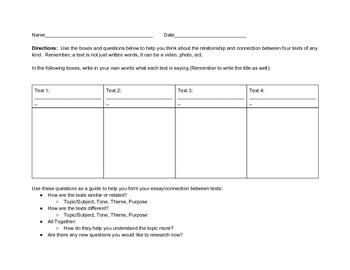 Comparing Texts Graphic Organizers