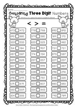 Comparing Three Digits Numbers Greater Than Less Than Worksheets Comparing 3-Digit Numbers PDF Comparing Three Digits Numbers Greater Than Less Than Worksheets 3 Digits