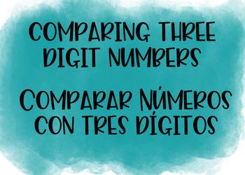 Comparing Three Digit Numbers Bilingual Boom Cards