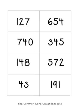 Comparing Three-Digit Numbers * Math Center Game for CCSS 2.NBT.4 * Common Core
