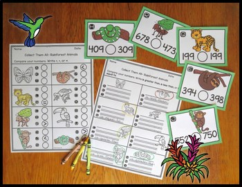 Comparing Three Digit Numbers Rainforest Animals Task Card Activity