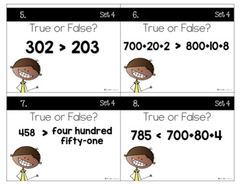 Comparing Three-Digit Numbers Task Cards