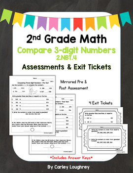 Comparing Three-digit Numbers Exit Slips & Assessments - 2.NBT.4