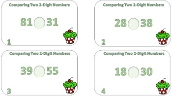 Comparing Two 2-Digit Numbers Task Cards CCSS
