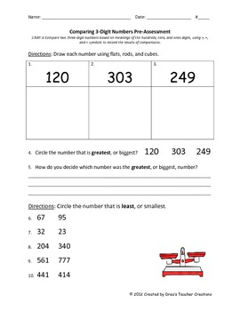 Comparing Two 3-Digit Numbers Assessments