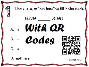 5.2B Comparing Two Decimals Task Cards TEKS 5.2B