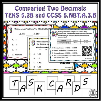 5.2B Comparing Two Decimals Task Cards TEKS 5.2B