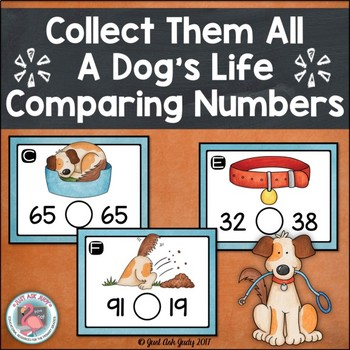 Comparing Two Digit Numbers A Dog's Life Task Card Activity