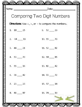 Comparing Two-Digit Numbers/Great than, Less than, or Equal to