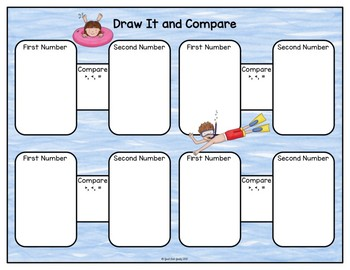 Comparing Two Digit Numbers Summer Task Card Activity