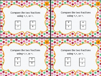 Comparing Two Fractions Task Cards