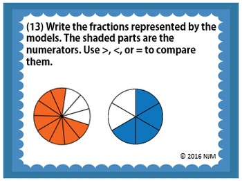 4.3D Comparing Two Fractions Task Cards TEKS 4.3D