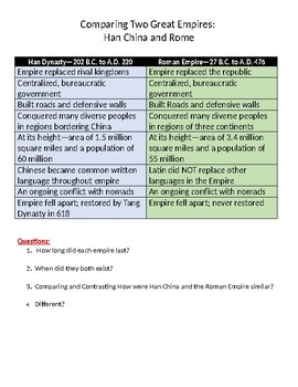 Comparing Two Great Empires:  Han China and Rome