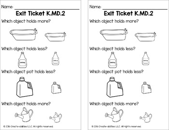Comparing Two Objects in Measurement Math Tasks and Exit Tickets