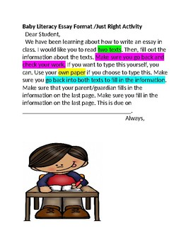 Comparing Two Texts /Baby Literacy Essay