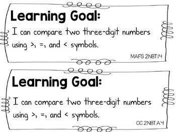 Comparing Three Digit Numbers Task Cards 2.NBT.A.4