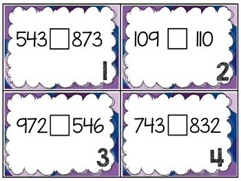 Comparing Three Digit Numbers Task Cards