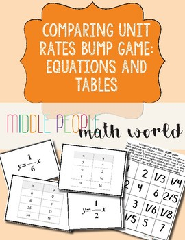 Comparing Unit Rates Bump Game: Equations and Tables