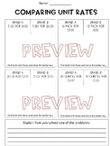 Comparing Unit-Rates Worksheet, Homework or Quiz