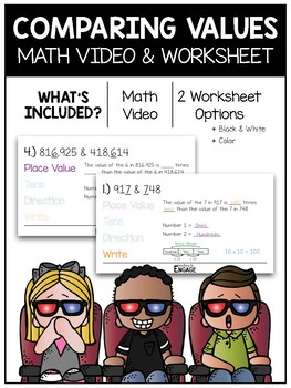 Comparing Values Math Video & Worksheet