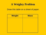 Comparing Weight and Mass