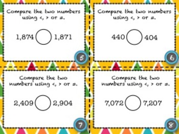 Comparing Whole Numbers - 28 Common Core Aligned Middle Grades Cards