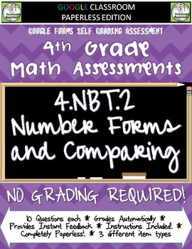 Comparing Whole Numbers - 4.NBT.2 Self Grading Assessment Google Forms