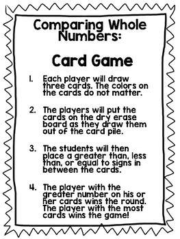 Comparing Whole Numbers Card Game