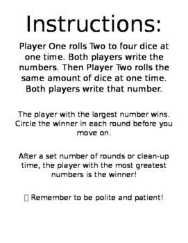 Comparing Whole Numbers Dice Game