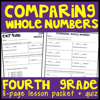 Comparing Whole Numbers: Guided Notes and Exit Quiz
