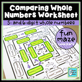 Comparing Whole Numbers Worksheet - 6 digits