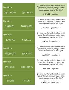Comparing Whole Numbers Quiz-Quiz-Trade