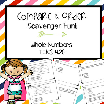 Comparing Whole Numbers Scavenger Hunt Grade 4