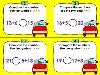 Comparing Whole Numbers Task Cards (CCSS 1.NBT.B.3)