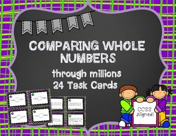 Comparing Whole Numbers Task Cards and Scoot Game