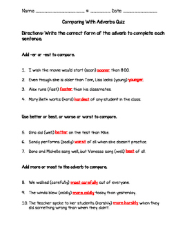 Comparing With Adverbs Quiz