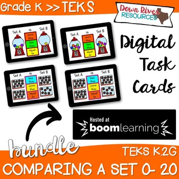 Comparing a Set: Numbers 0-20 Boom Cards Bundle (Kindergarten TEKS)