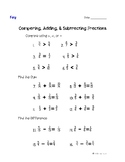 Comparing, adding and subtracting fractions review