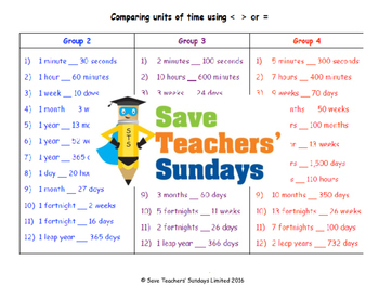 Comparing amounts of time lesson plans, worksheets and more