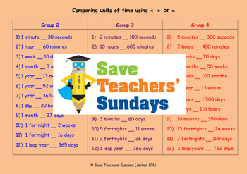 Comparing amounts of time worksheets (3 levels of difficulty)