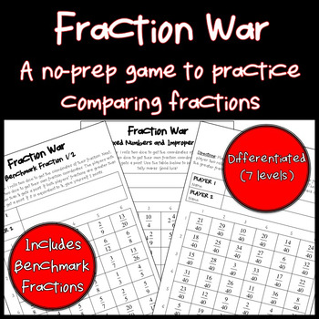 Comparing Fractions: Math Game (Differentiated) (No prep) 4.NF.2