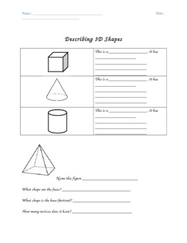 Comparing and Contrasting 3D Shapes (Common Core Aligned)